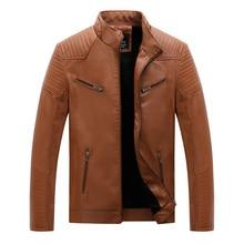 купить Winter Fashion Men Jacket Stand Collar Velvet Warm Cargo Coats Multi Pockets Spliced Designer Motor Biker PU Leather Jackets Men дешево