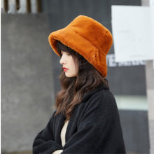 fc123ac2bfa4b6 Fashion Faux Fur Winter Bucket Hat For Women Girl Solid Thickened Soft Warm  Fishing Cap Outdoor