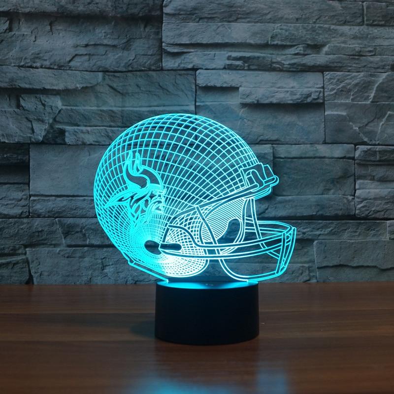 3D American football helmet Minnesota Vikings team led light furniture
