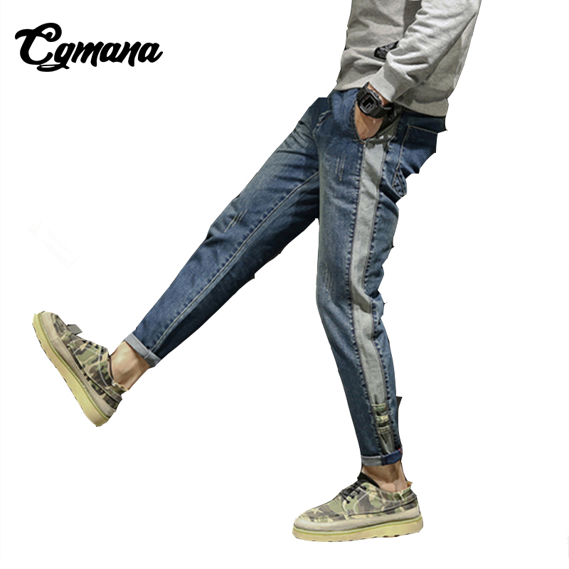 CGmana Jeans Men 2018 Hip Hop Jeans Mens Jeans Slim Fit Mens Harem Pants Straight Washed Denim Pants Mens Broken Jeans Summer