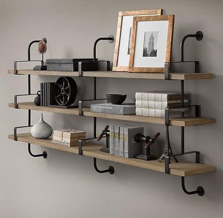 hierro americano de madera pared de estanteras cornisa soporte de estante estantes estantes de pared creativo - Estantes De Pared