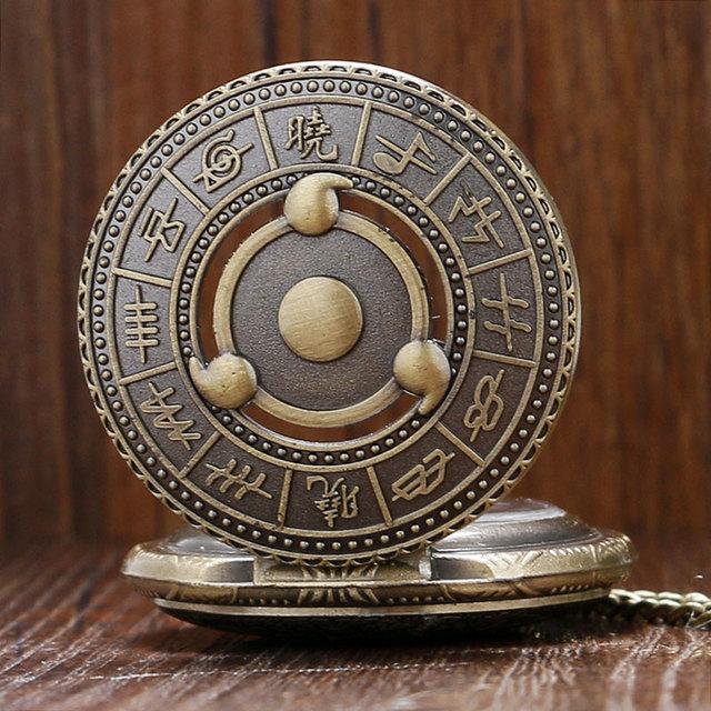 Vintage Bronze Cartoon Naruto Quartz Pocket Watch