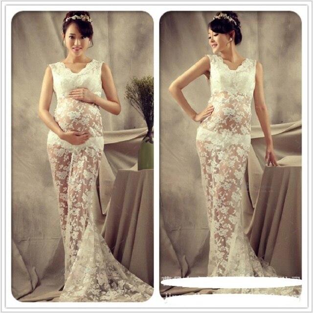 06d342c7a Encaje blanco accesorios de Fotografía Estilo Royal Vestidos de Maternidad  Las Mujeres Embarazadas Sesión de Fotos