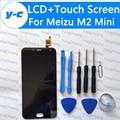 Para meizu m2 mini display lcd + de tela de toque nova digitador de vidro painel de substituição para meizu m2 mini mobile phone-livre navio
