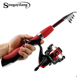 Sougayilang 1.5m Carbon Fiber Rod Superhard Boat Fly Lure Fishing Rod With High Quality Fishing Reel Fishing Tackle De Pesca