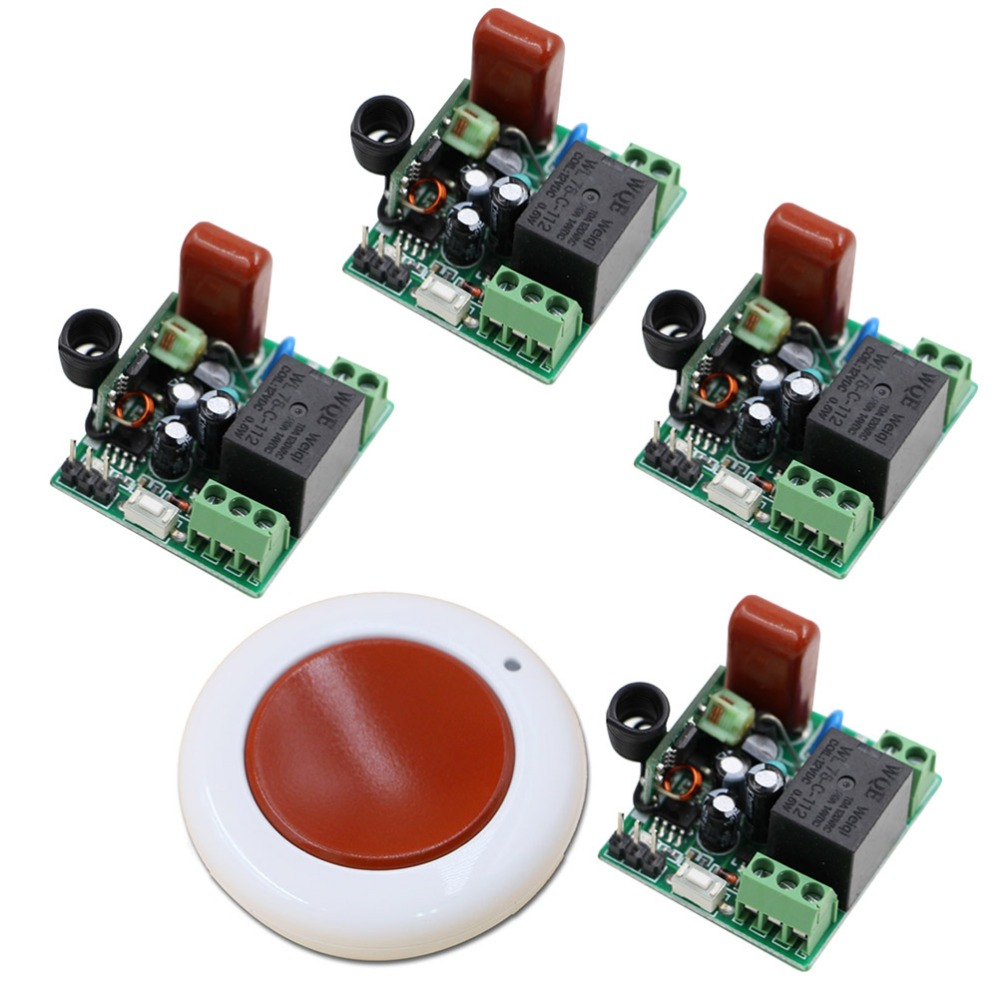 New Design220V 1CH 4Receivers(with Cover)+1Transmitter (Mini Sizes)RF Wireless Remote Control Power Switch System for Home Smart 2 receivers 60 buzzers wireless restaurant buzzer caller table call calling button waiter pager system