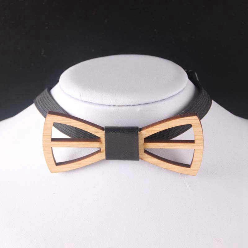 Fashion Men's Novelty Wedding Groom Party Wood Tuxedo Bowtie Necktie Handmade Wooden Adjustable Bow Tie BBB0028