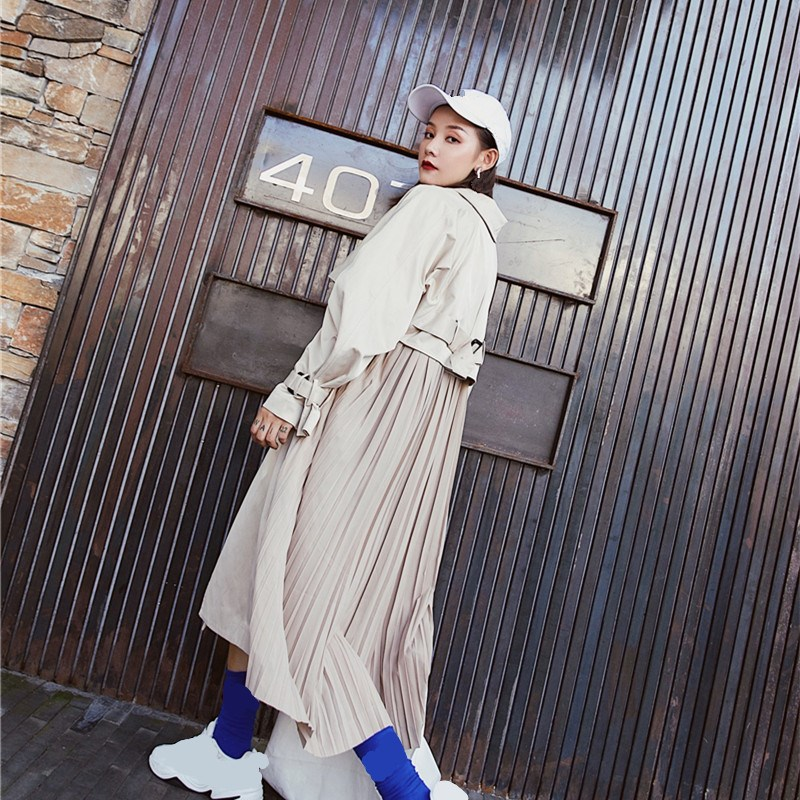 New Fashion Women Pleated Long   Trench   Coat 2018 Autumn Patchwork Loose Windbreaker Long Sleeve Casual Overcoat