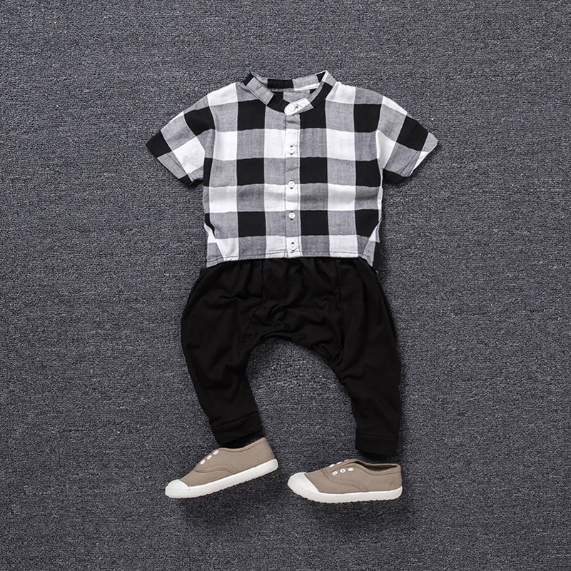 Kids Boys Summer Outfits 2017 New Fashion Children Clothing Set Twinset Plaid Shirt And Black Harem Pants Boys Short Sleeve Suit