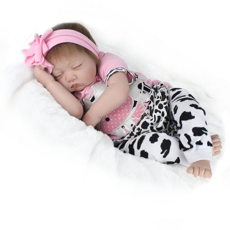 Soft Silicone Vinyl Dolls Playmate Sleeping Doll With Cow Clothes For Bouquets Doll Bebe Reborn Handmade Realistic Baby Gift