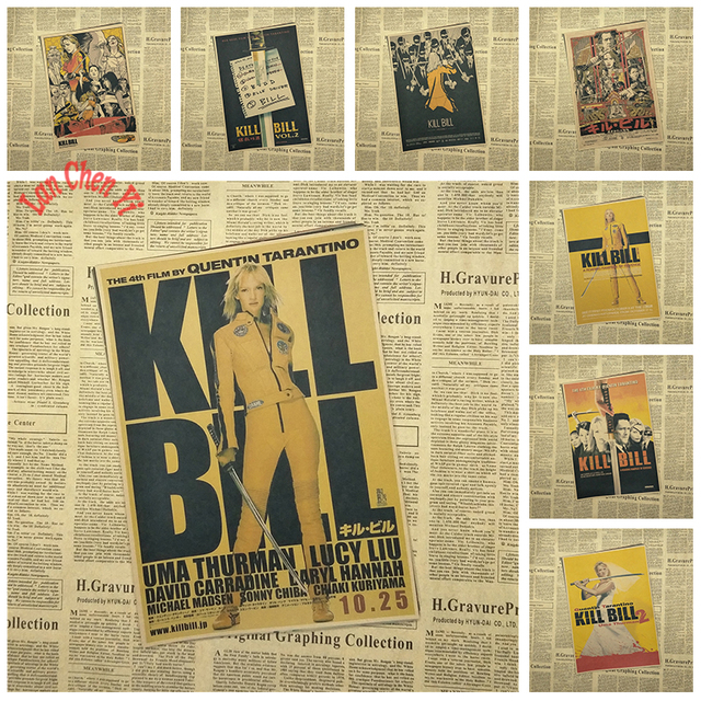 Kill Bill Vol Clássico Filme Retro Kraft Papel Poster Bar Cafe Sala de Jantar sala de Quentin Tarantino Cartaz Vídeos