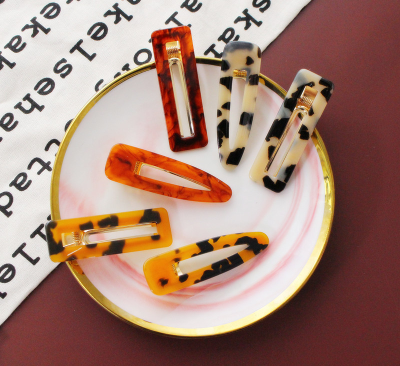 European Trendy Leopard Prince Hollow Square Drop Hairpins For Women Vintage Acetic Acid Acrylic Resin Hair Clips Girls Headwear in Women 39 s Hair Accessories from Apparel Accessories