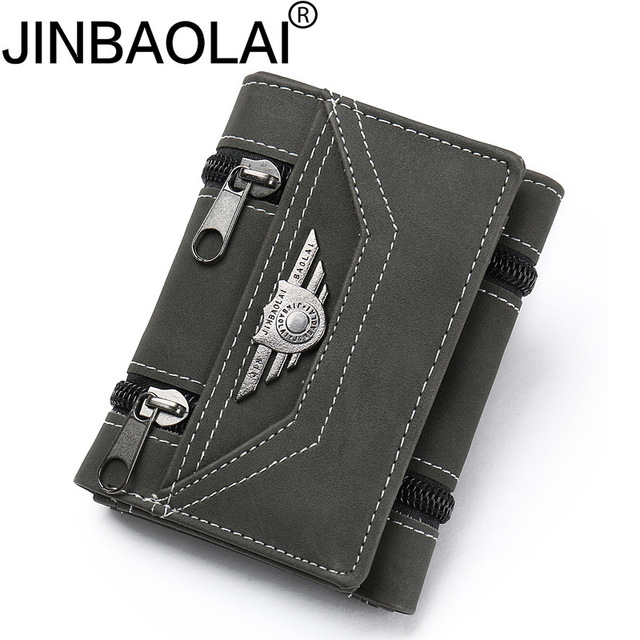 2018 Fashion Rivets wallets Vintage PU leather purse for men concise quality thin free shipping money clip card organizer man