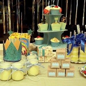 Image 2 - 5 sztuk śliczne księżniczka książę Kraft cukierkowa torebka na prezent pudełko płeć ujawnić Baby Shower chłopiec dziewczyna 1st dekoracja na roczek na rzecz