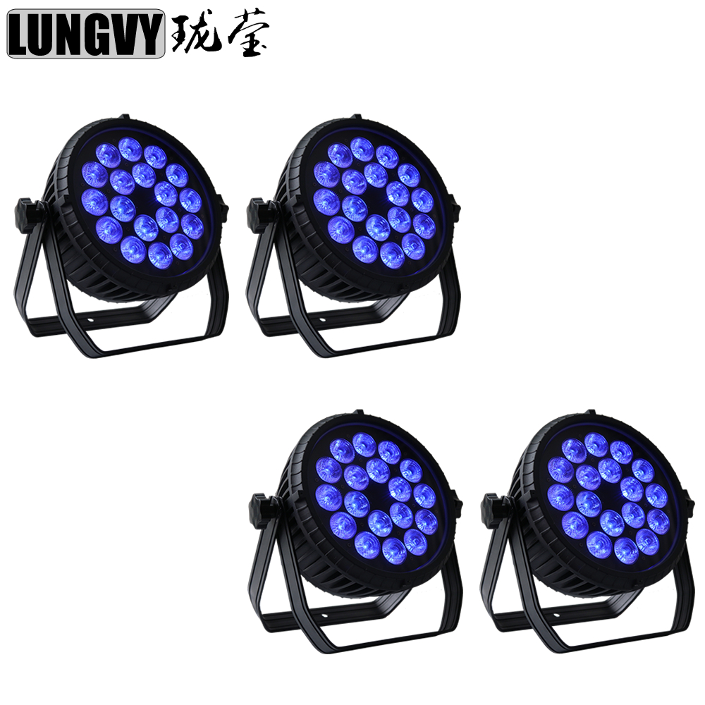 Free Shipping 4pcs/Lot Non-Waterproof Led Par Can 18x18w RGBWA UV 6in1 LED Par Can Par Light Stage Light