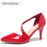 COCOAFOAL Woamn Red Wedding Sandals Plus Size 31 47 High Heels Sandals Sexy Apricot Black Peep