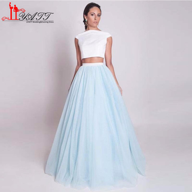 2017 Turkish Two Pieces White and Sky Blue Ball Gown Tulle Simple ...