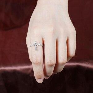 Image 5 - Transgems w kształcie krzyża 14 K białe złoto pierścień przyrzeczenia dla kobiet prezent 3 MM Moissanite F kolor doskonały Cut kobiety pierścień fine Jewelry