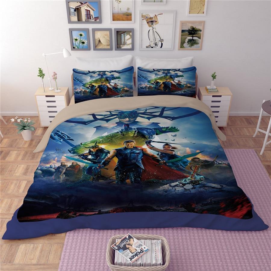 New Avengers hero couette literie ensembles Captain America chambre décor garçon cadeau lit feuille 3/4 pcs couette couverture draps