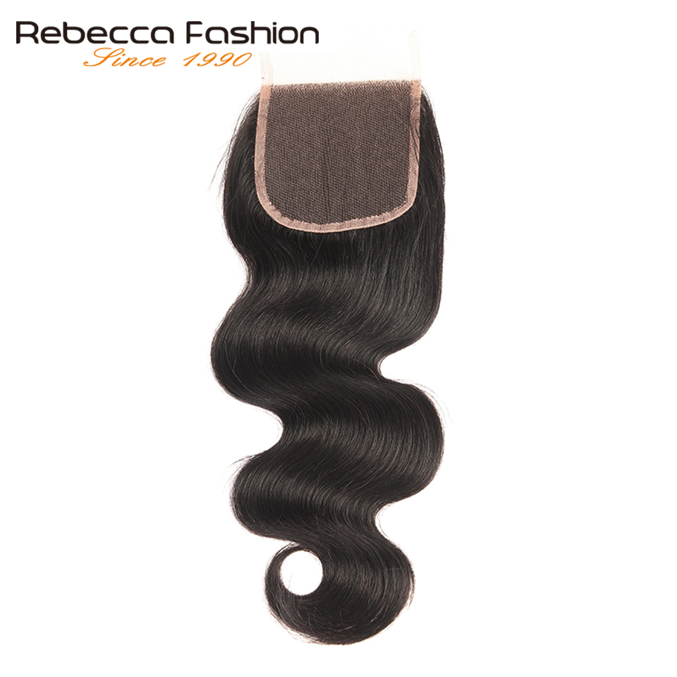 Rebecca Brazilian Body Wave Hair Closure 4x4 Remy Human Hair Lace Closure Free Middle Three Part Natural Color