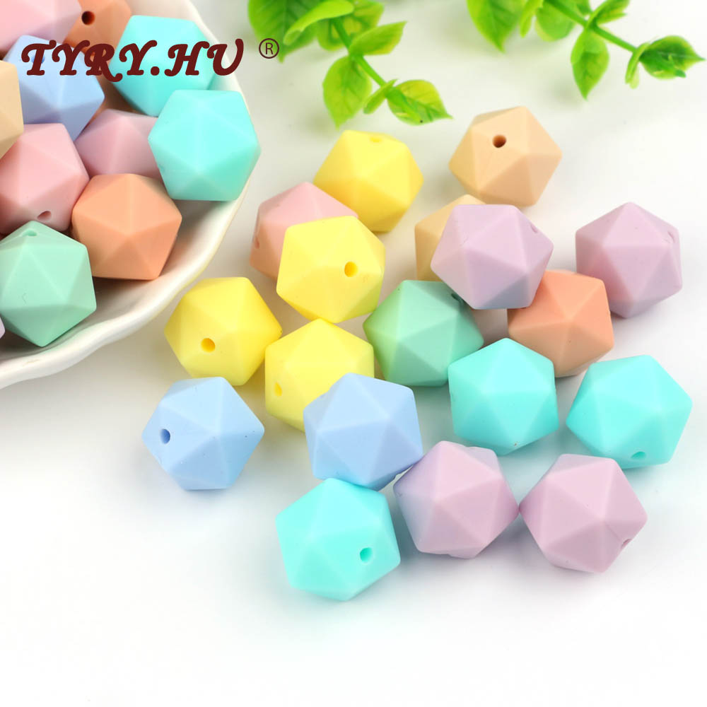 TYRY.HU 50Pcs 14mm Icosahedron Silicone Beads Baby Teething Beads For Necklace Baby Teether DIY Pacifier Chain BPA Free Beads