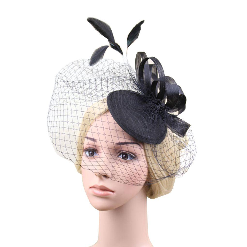 Black Flower Hair Accessory J7213: Women Flower Feather Net And Veil Hat Wedding Party Hair