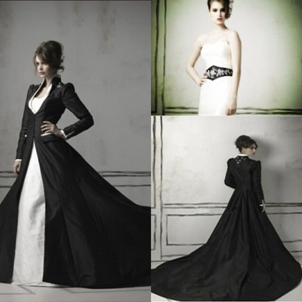 Gothic wedding shop - 2016 New Medieval Cathedral Train Beading Satin Gothic Wedding Dresses With Black Long Sleeves Top Bridal
