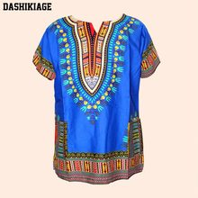 Unisex Baumwolle Dashiki Mens Frauen Afrikanische T-Shirt Top Traditionellen Tribal Ethnic Succunct Hippie Top(China)