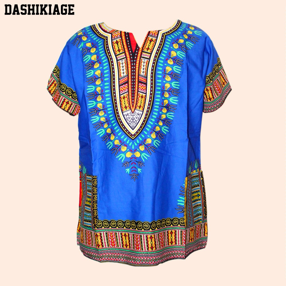 Unisex Cotton Dashiki Mens Women African T-Shirt Top Traditional Tribal Ethnic Succunct Hippie Top
