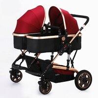 YIBAOLAI High Landscape Twins Baby Stroller Widen Seat Pushchair Folding Stroller 4 Season Shockproof Mutiple Baby Pram Carriage