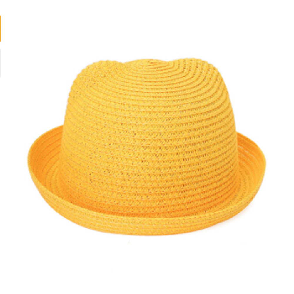 ca40844fec8 Kids Useful Straw Hats Character Ear Decoration Summer Cap Baby Sun Hat for  Girls Boys Solid Bucket Cap Beach Hat for Children-in Hats u0026 Caps from  ...