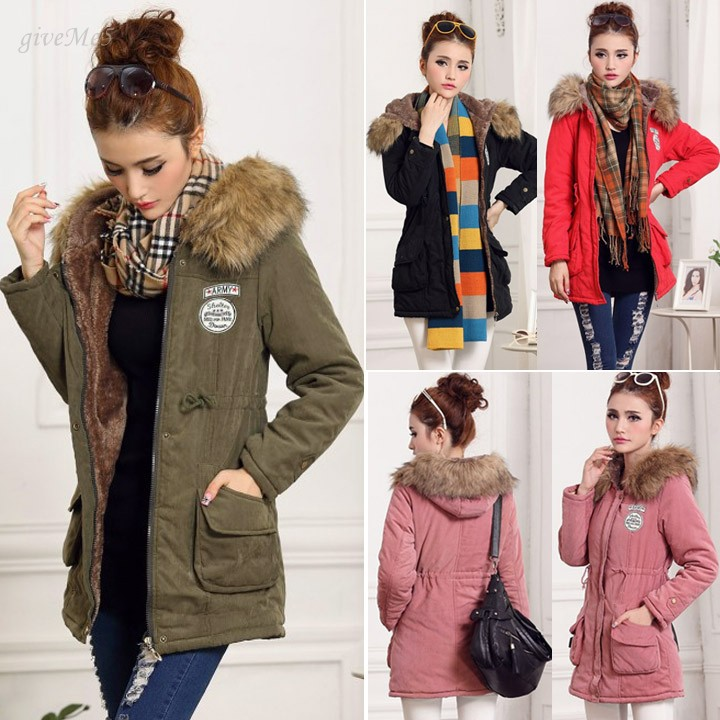 ФОТО 2014 European New Female Hooded Overcoat Women Cotton Coat In Middle-long And Slim Style With Fur Collar M-2XL 51