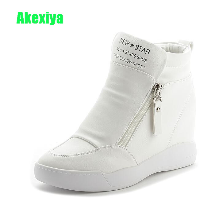 Akexiya Women Leather Casual Shoes Woman High Top Wedges Sneakers Height Increasing Platform Boots Ladies White High Heels Shoes