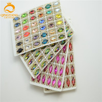 30 Pcs Costume Dress Navette Color Rhinestone Applique Sewing On Button 7mmx15mm