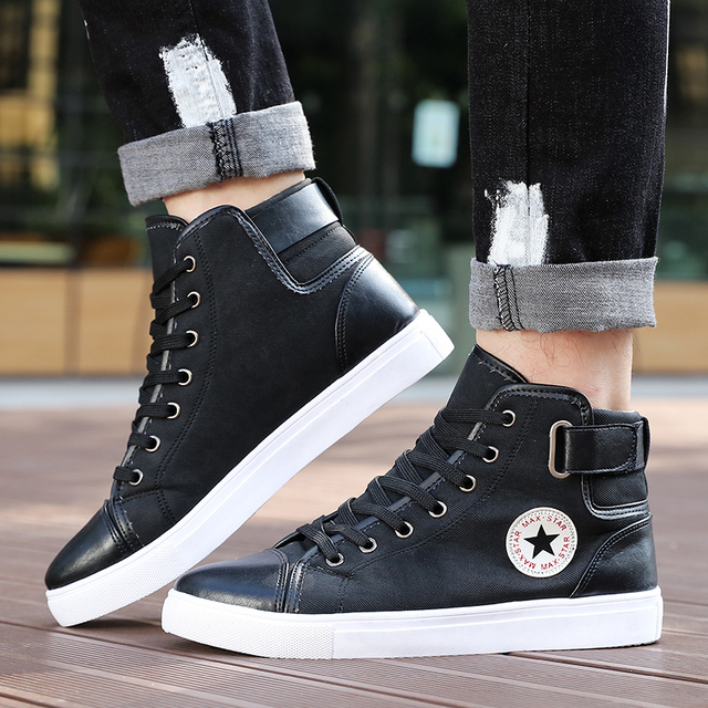 New Arrive Men Causal Shoes Autumn Winter Front Lace-Up Leather Ankle Boots Shoes Man Casual High Top Canvas Men MC004--2 3