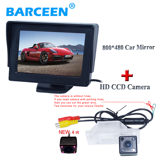 """4.3 """"pantalla lcd de reserva del coche del monitor + cámara de marcha atrás del coche 4 luces del ir para NISSAN QASHQAI/X-TRAIL para Peugeot 307 Hatchback"""