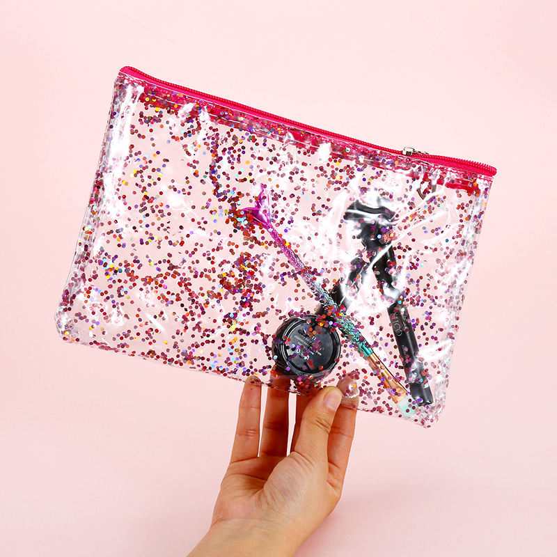 Korean PVC Transparent Cosmetic Bag Women Sequins Travel Envelope Make Up Makeup Toiletry Organizer Case Wash Bags Pouch