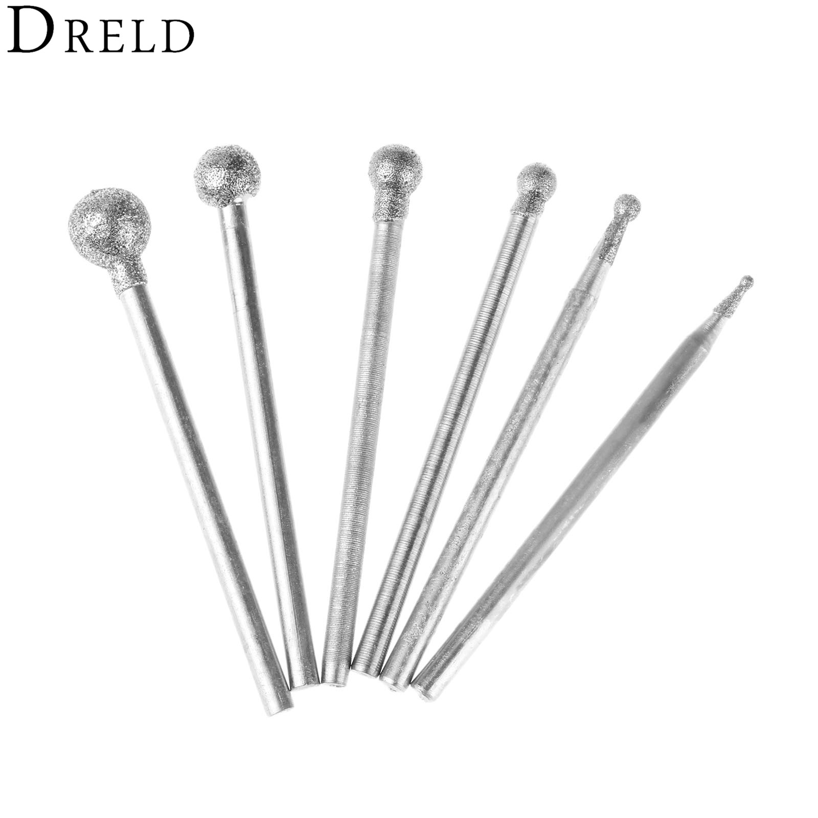 DRELD 6Pcs 2.35mm Shank Diamond Spherical Polishing Grinding Head Mounted Points Grinding Bit For Dremel Rotary Tools F Needle