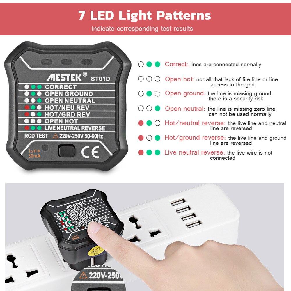 MESTEK ST01D RCD/Tomada De Parede Tomada GFCI Circuito Polaridade Voltage Detector Tester Teste Disjuntor Do Finder 220 V- 250V Plugue DA UE
