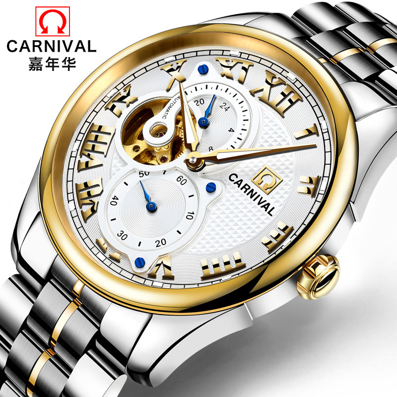High end Business Automatic Watch men Top brand CARNIVAL Mechanical watches with small second dial, 24hours display, Tourbillon triple dial hour second week display automatic mechanical watch for men tevise 356