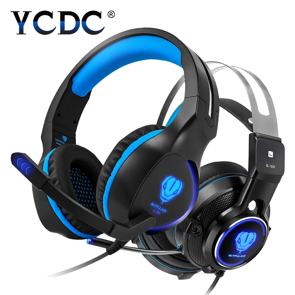 YCDC Adjustable 3.5mm Sport Headphone Game Gaming Headphones Headset Bass Stereo with Mic Wired LED for PS4 XBOX PC Laptop iPad gaming headphone headphones headset deep bass stereo with mic adjustable 3 5mm wired led for computer laptop gamer earphone