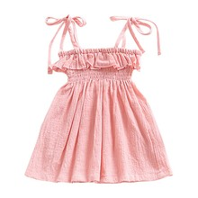 Baby Girls Casual Solid Color Sleeveless Dress