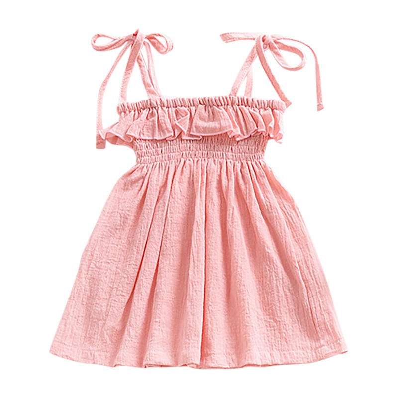 Summer Baby Girls Casual Solid Color Sleeveless Dress Toddler Infant Girl Cute Princess Dresses Children Sleeveless 2018 New