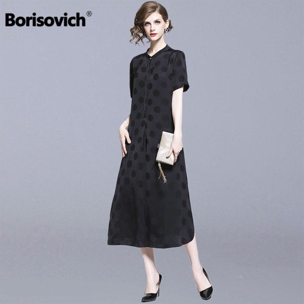 Borisovich femmes été tenue décontractée nouvelle marque 2019 mode Vintage à pois lâche confortable femme a-ligne longues robes N1248