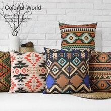 Nordic Bohemia Rural Geometry Retro elegant Pillow Cover Home Decorative Pillows Linen Pillow Case Office Sofa Cushion Cover