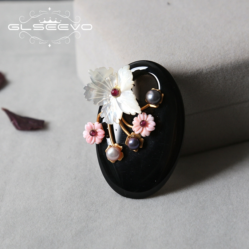 GLSEEVO Natural Fresh Water Pearl Brooch Pin Agate Mother Of Pearl Flower Brooches For Women Dual Use Fine Jewelry Luxury GO0223 цена