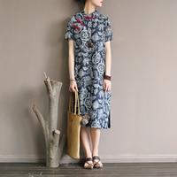 Chinese style Print Women Knee length Dress Vintage Cotton and Linen Casual Summer Dress Women Brand Qipao Dress