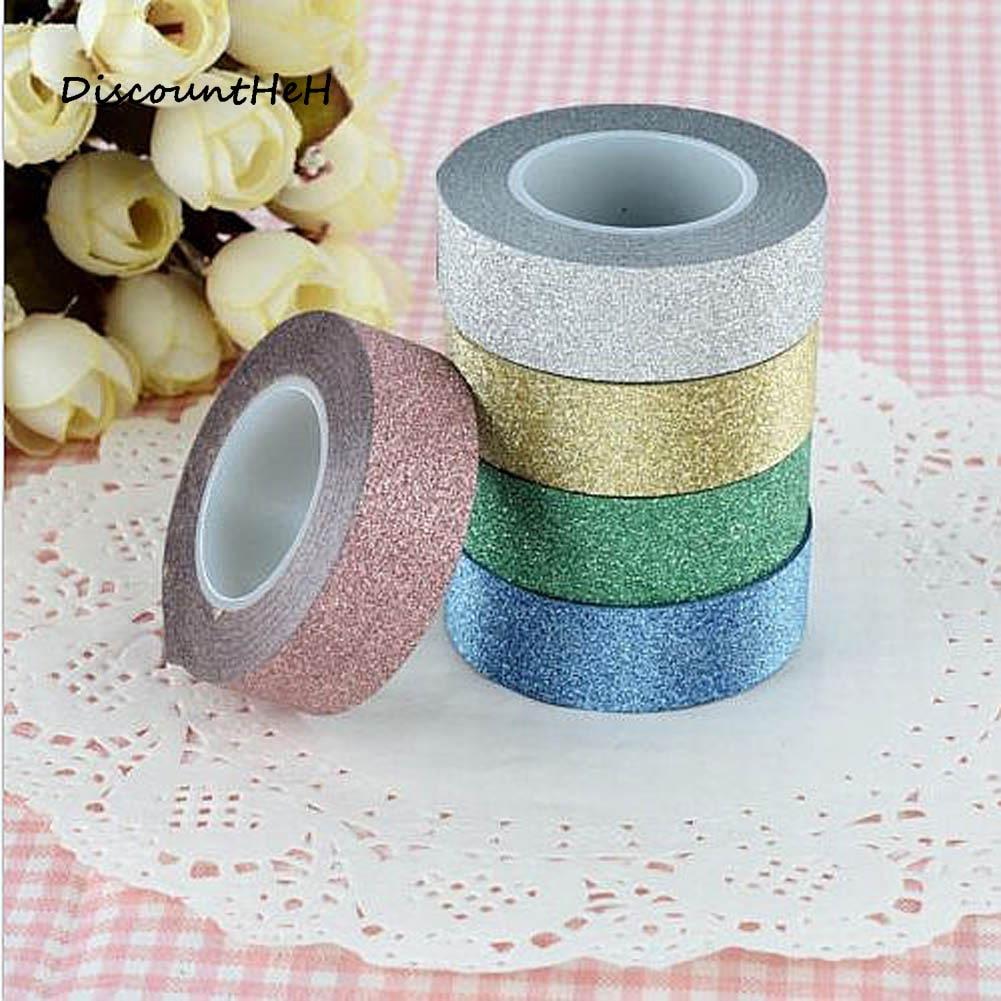 15mm*10m Glitter Washi Tape Set Japanese Stationery Scrapbooking Decorative Tapes Adhesive Tape Kawai  Adesiva Decorativa