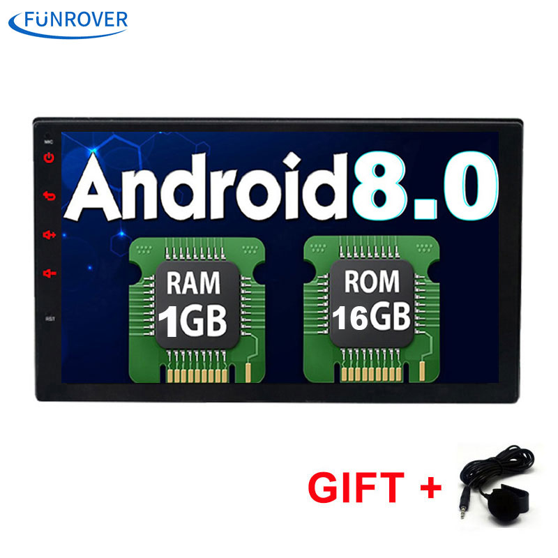 FUNROVER 2 Din 7 Inch In dash Universal Car dvd Radio player android 8.0 bluetooth gps navigation 1G+16G video wifi bt rds