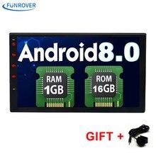 FUNROVER 2 Din 7 дюймов в тире Универсальный Автомобильный dvd-радио-плеер android 8,0 bluetooth gps-навигации 1 г + 16 г видео wifi bt rds